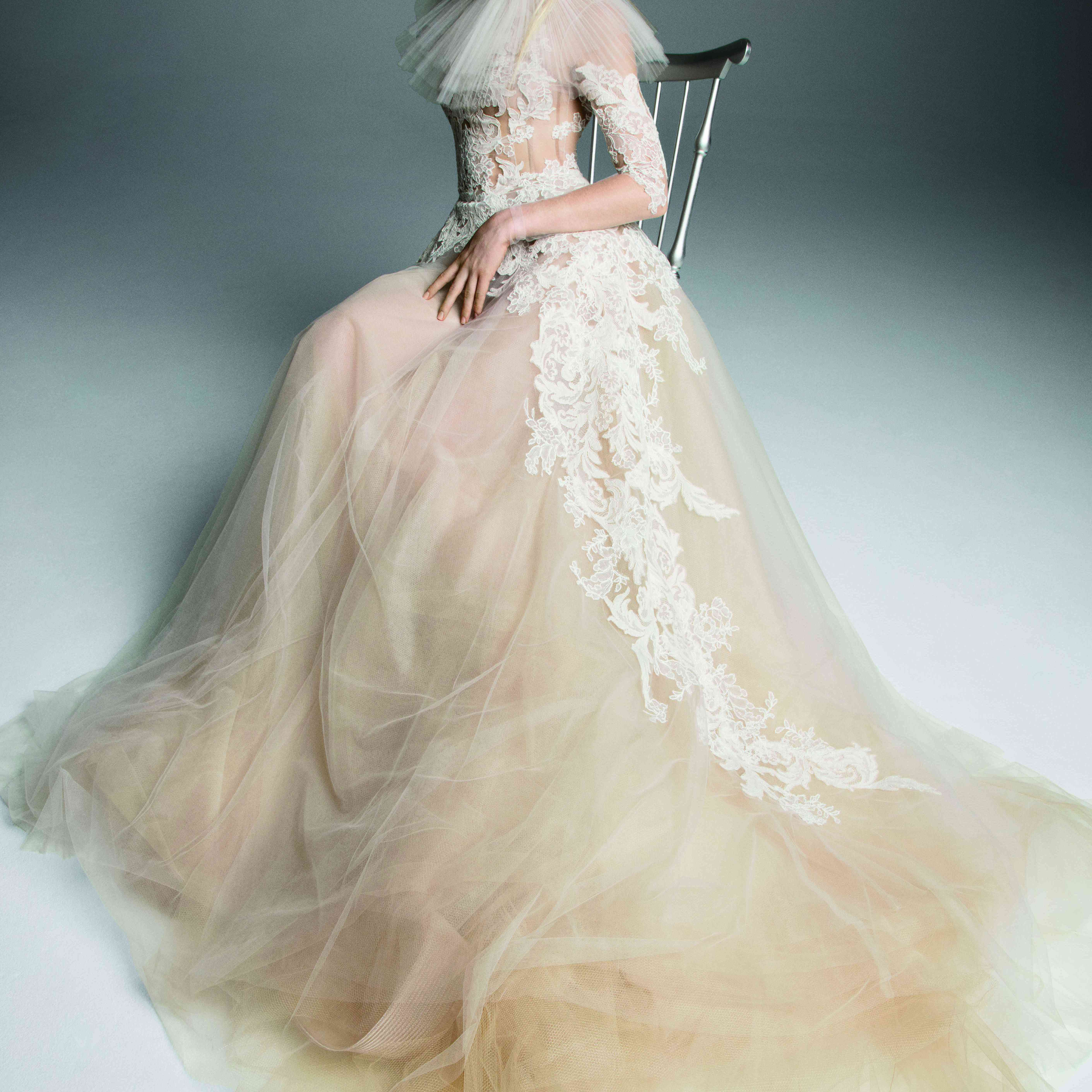 Model in nude tulle long-sleeve gown with lace accents on the bodice and skirt