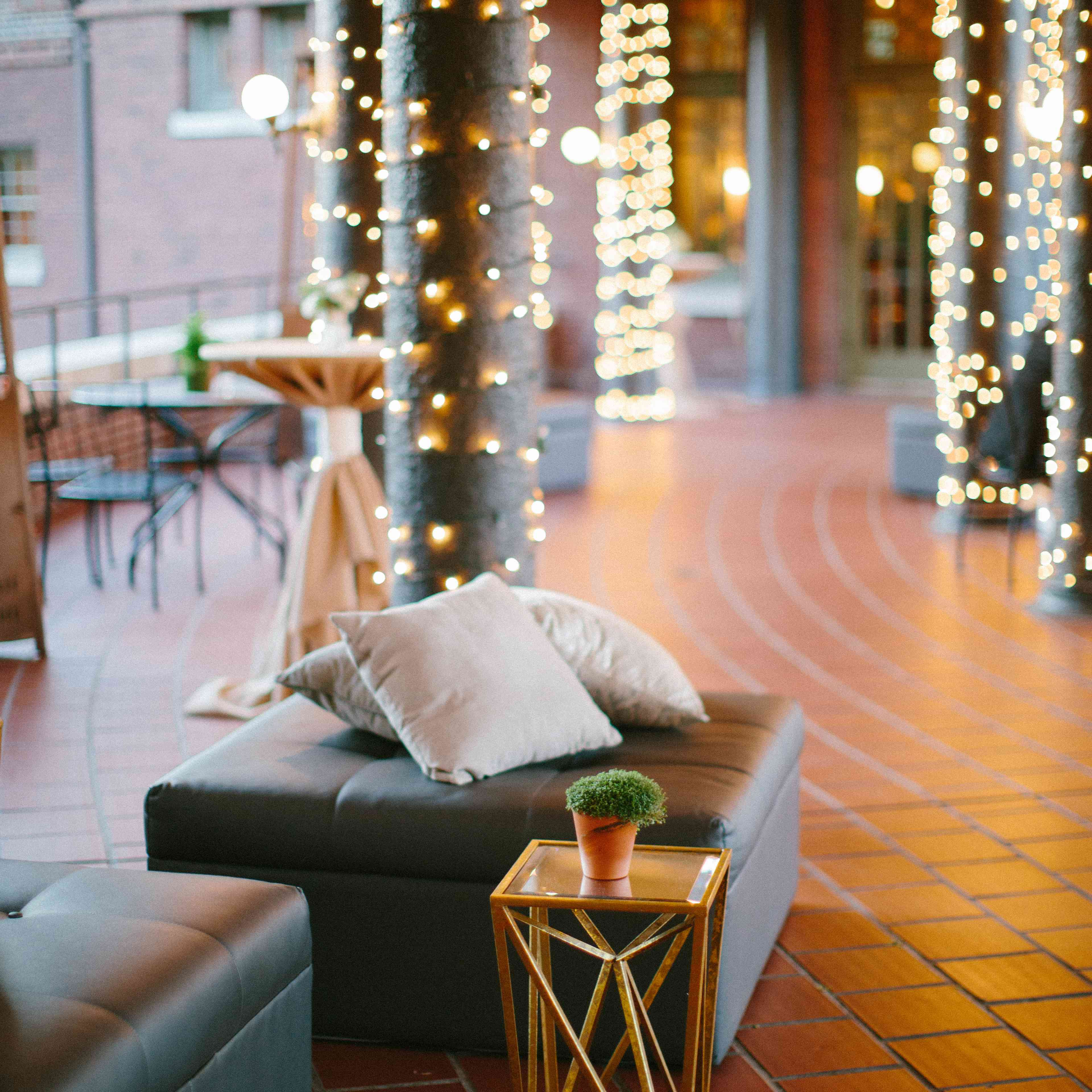 Reception Lounge with String Lights