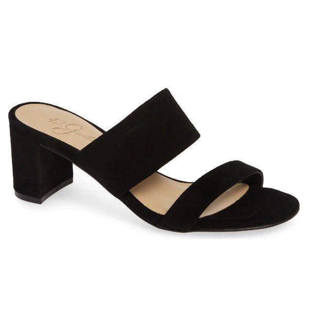 black low heeled sandals