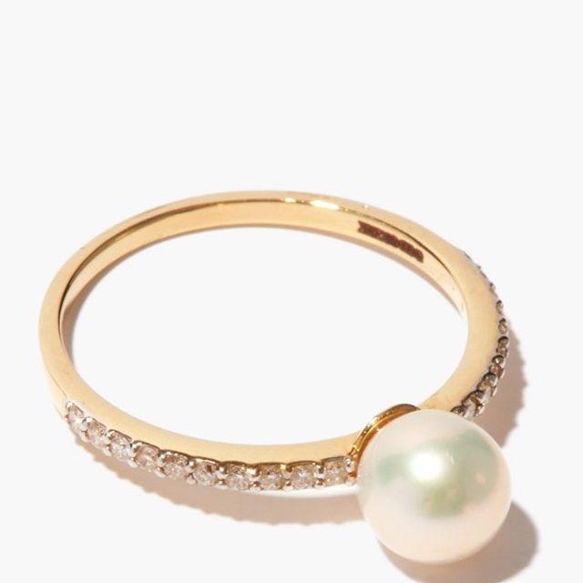 Mateo Gold & Diamond Pearl Sphere Ring