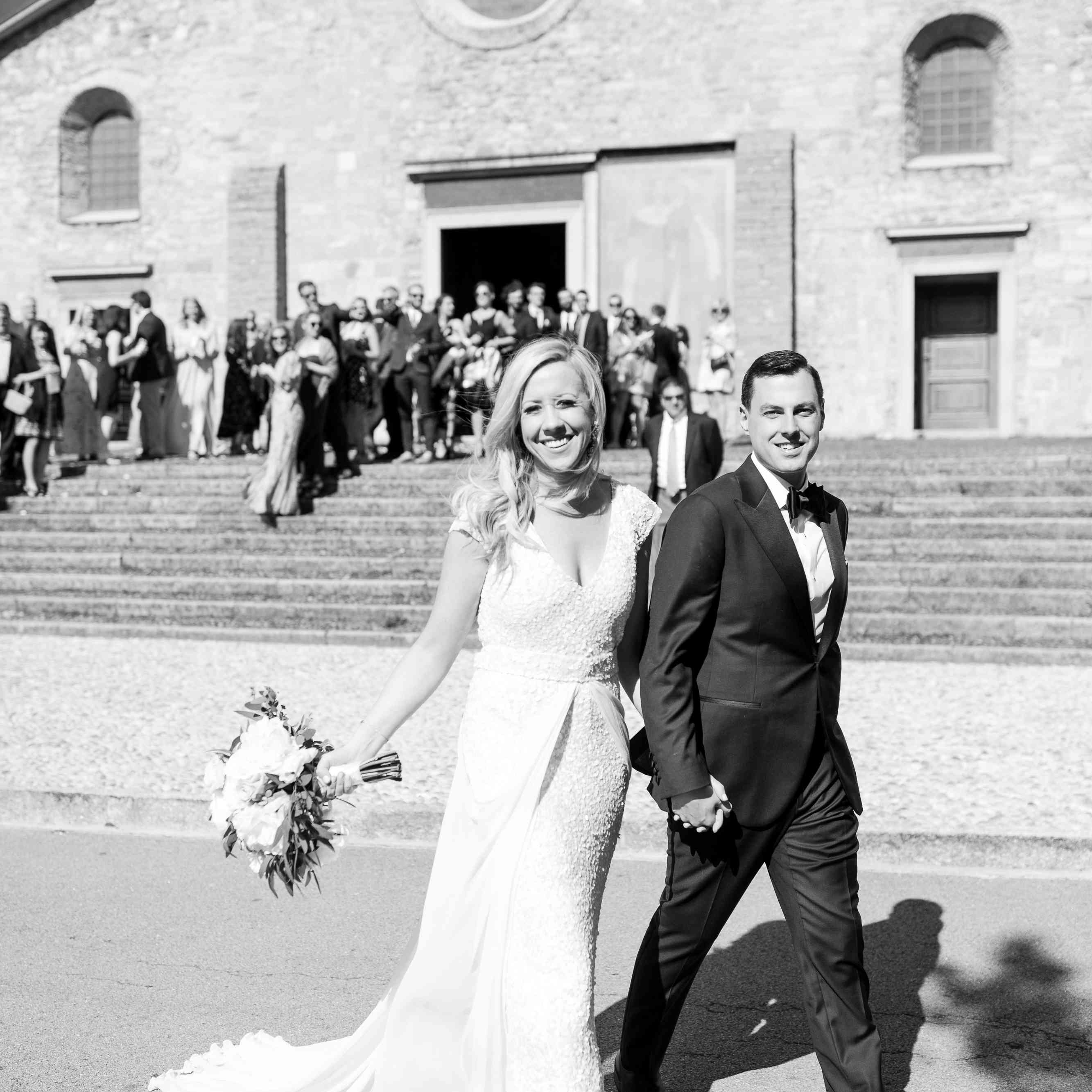 <p>Newlyweds leaving church</p><br><br>