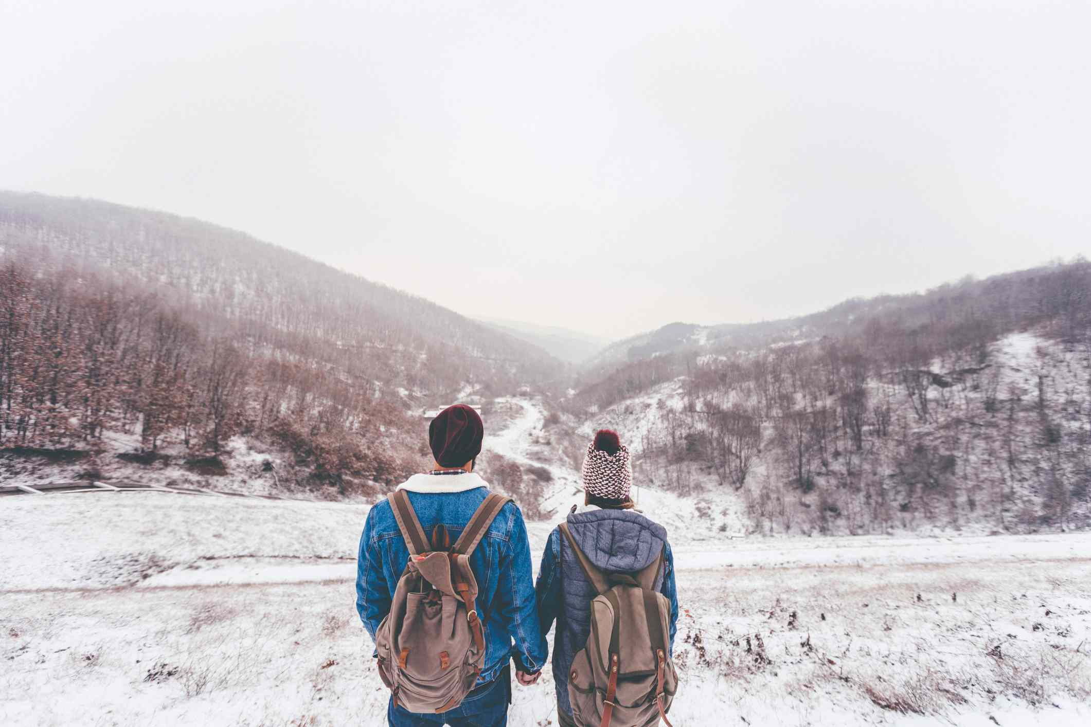 Couple holding hands and looking out at snowy scene