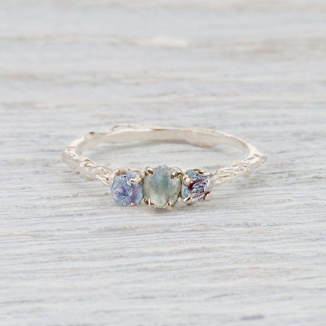 Olivia Ewing Jewelry Silver Montana Sapphire Naples Three Stone Ring