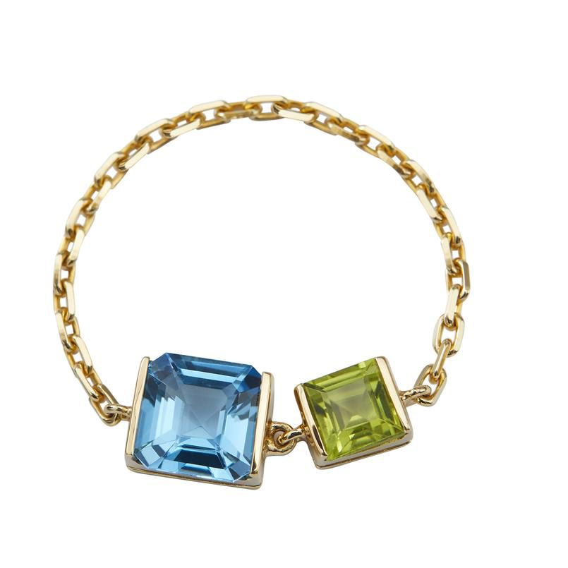 Yi Collection Topaz and Peridot Chain Ring