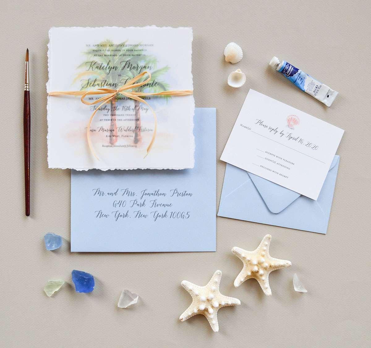 Handpainted palm tree wedding invitations