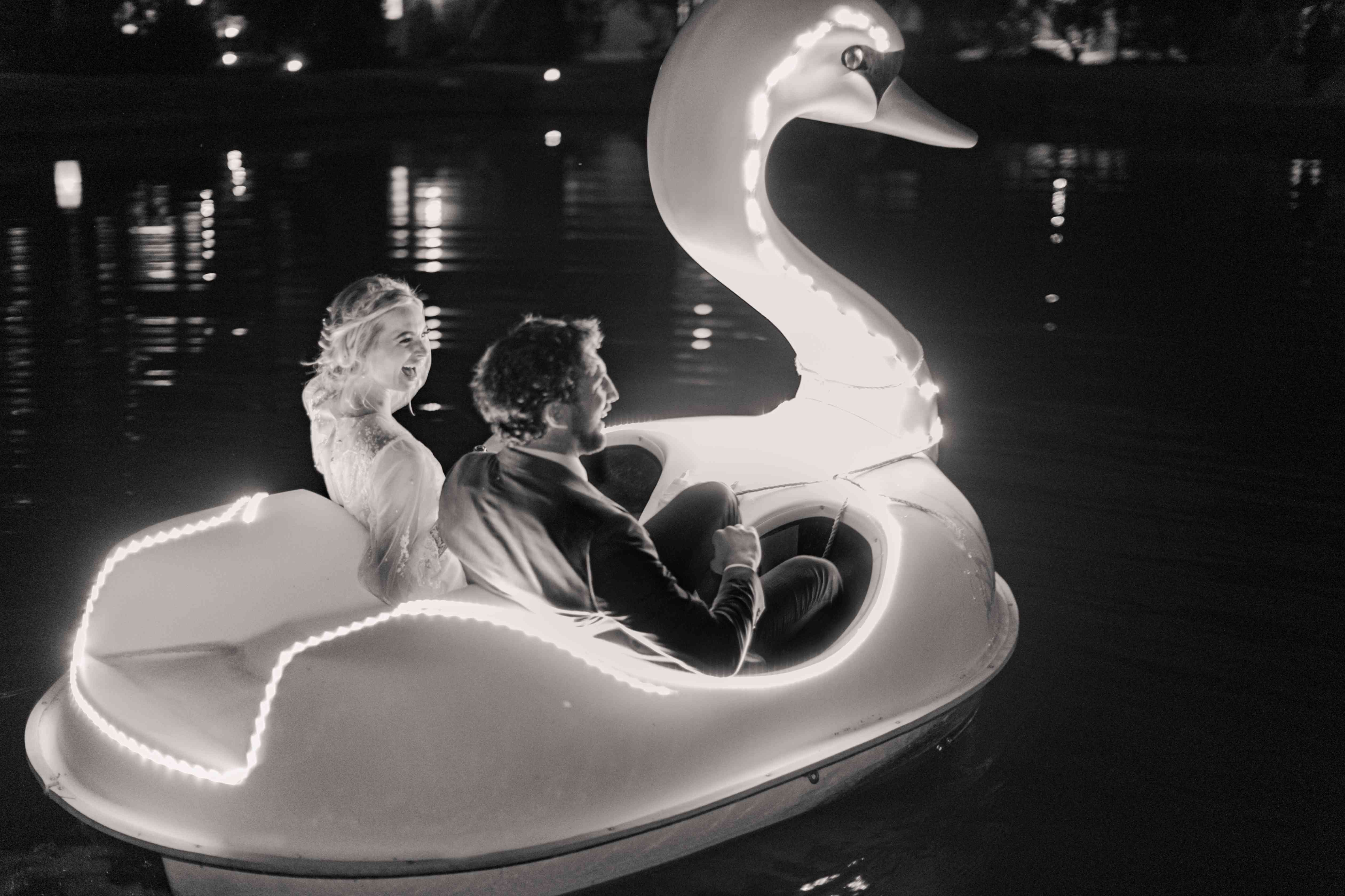 couple in swan boat