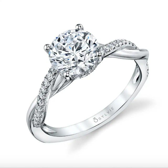 spiral engagement ring with hidden halo
