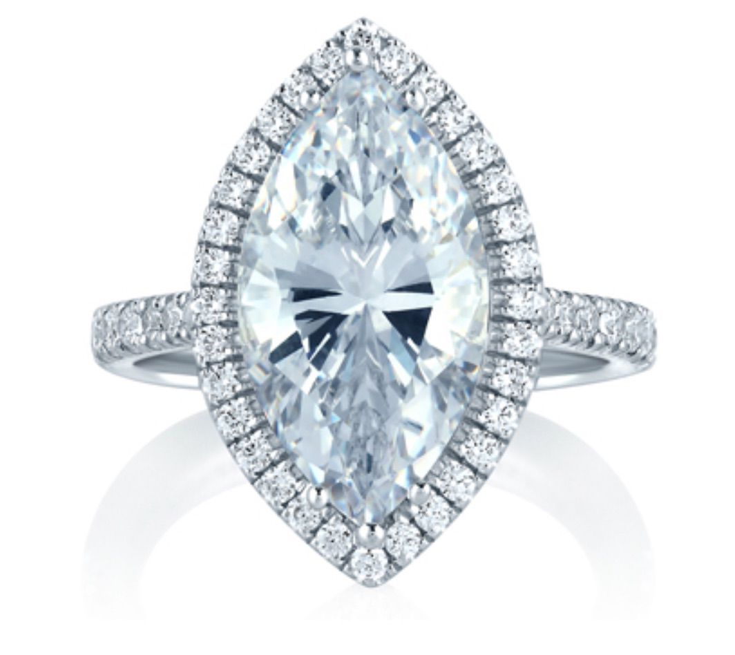 A.Jaffe Halo Statement Marquise Engagement Ring
