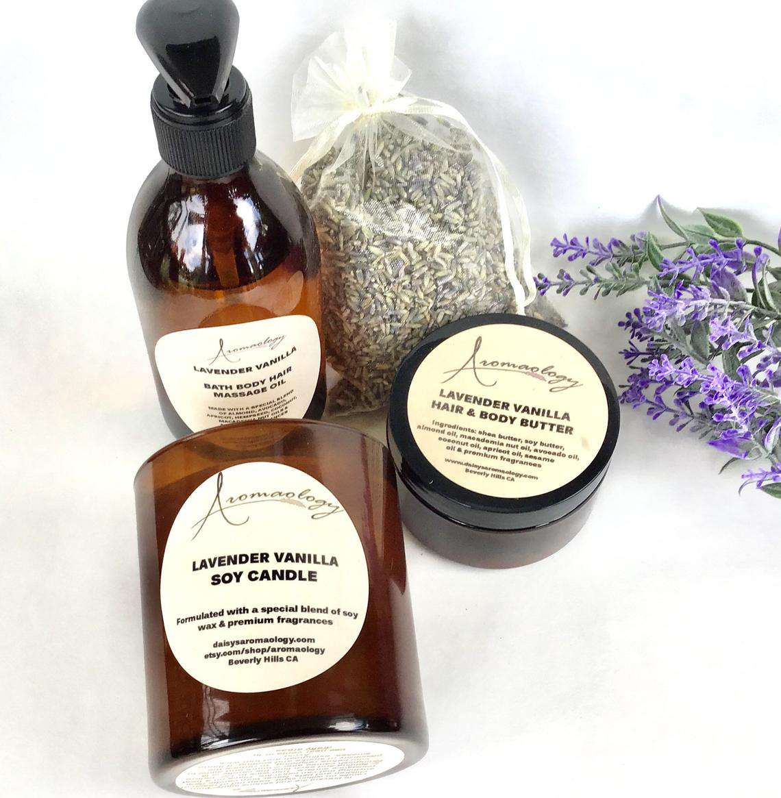 Aromaology Lavender vanilla gift set with body butter, massage oil, and soy candle