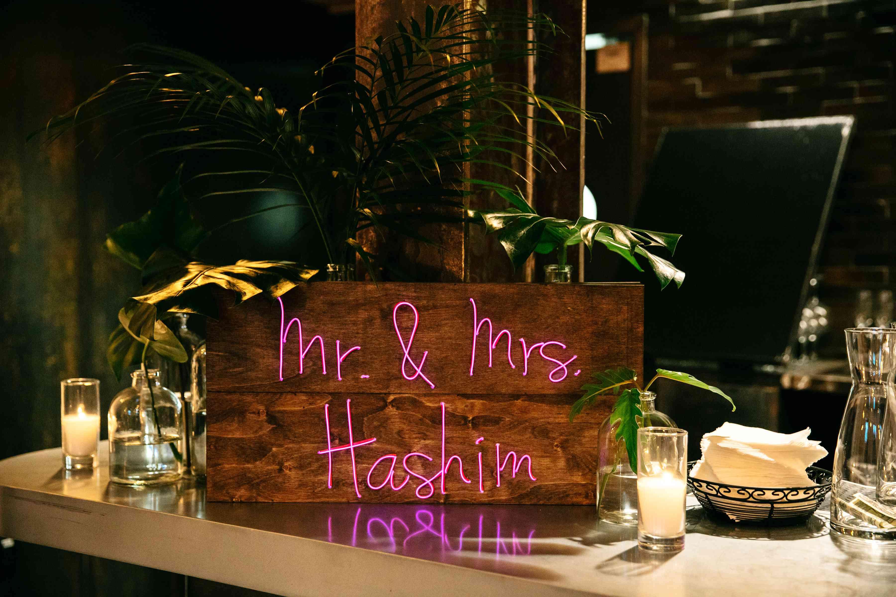 Wooden neon wedding sign