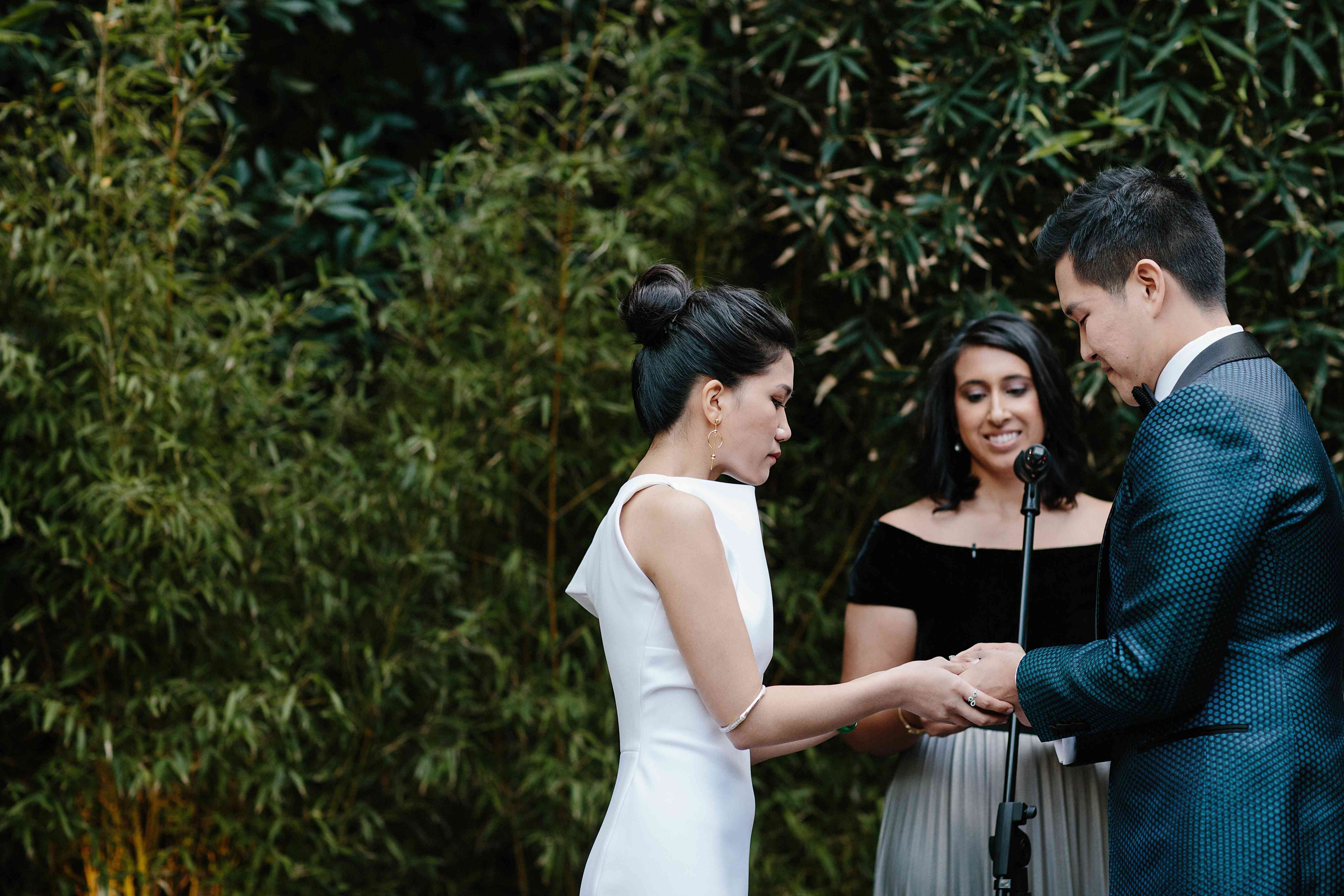 Bride and groom exchanging vows