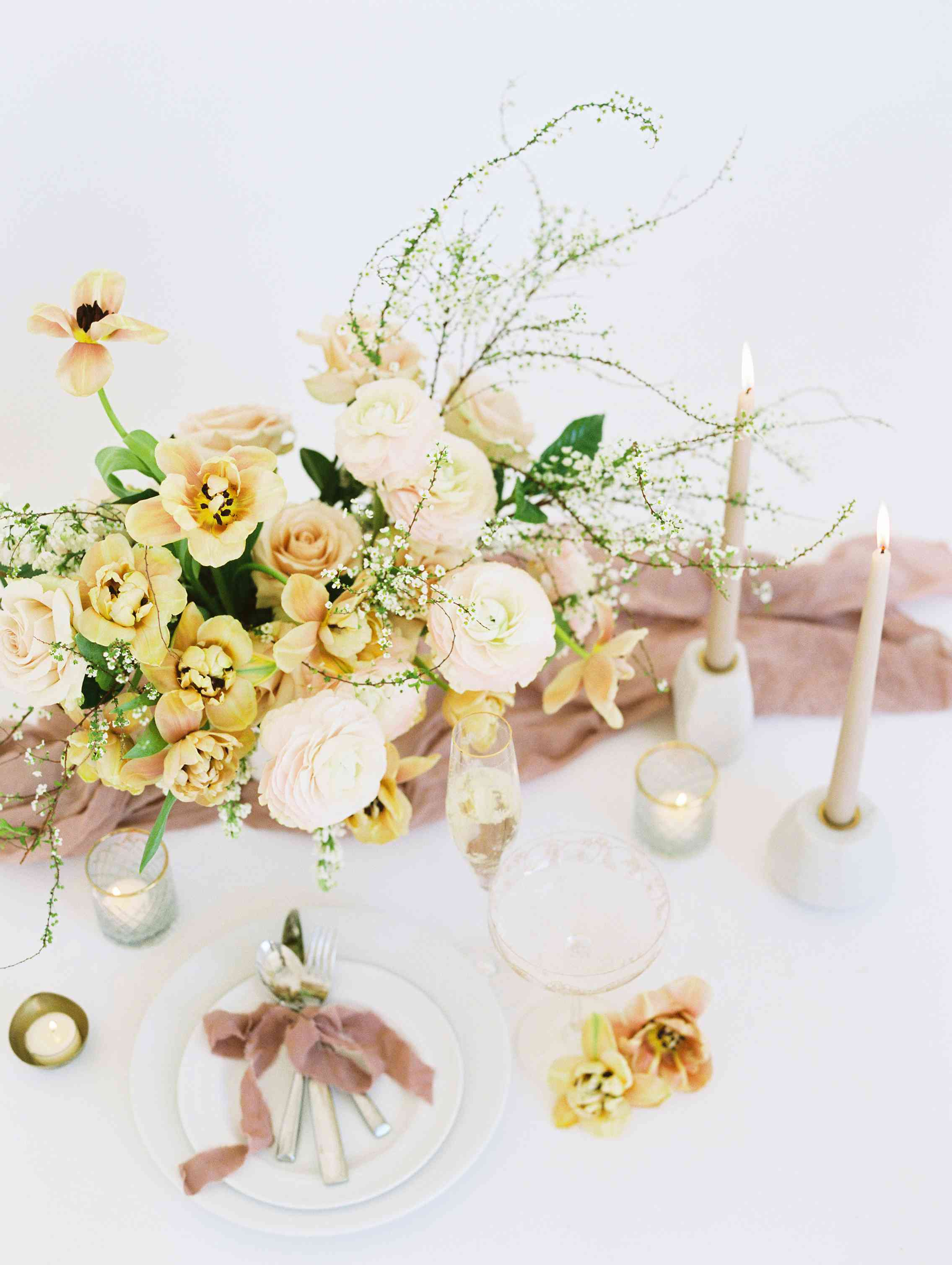 mustard tone floral centerpiece