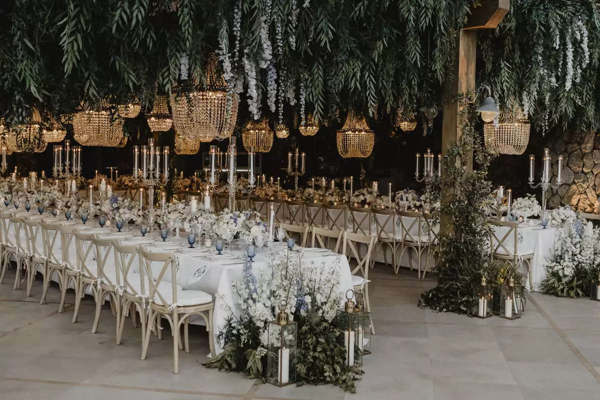 chandeliers and greenery