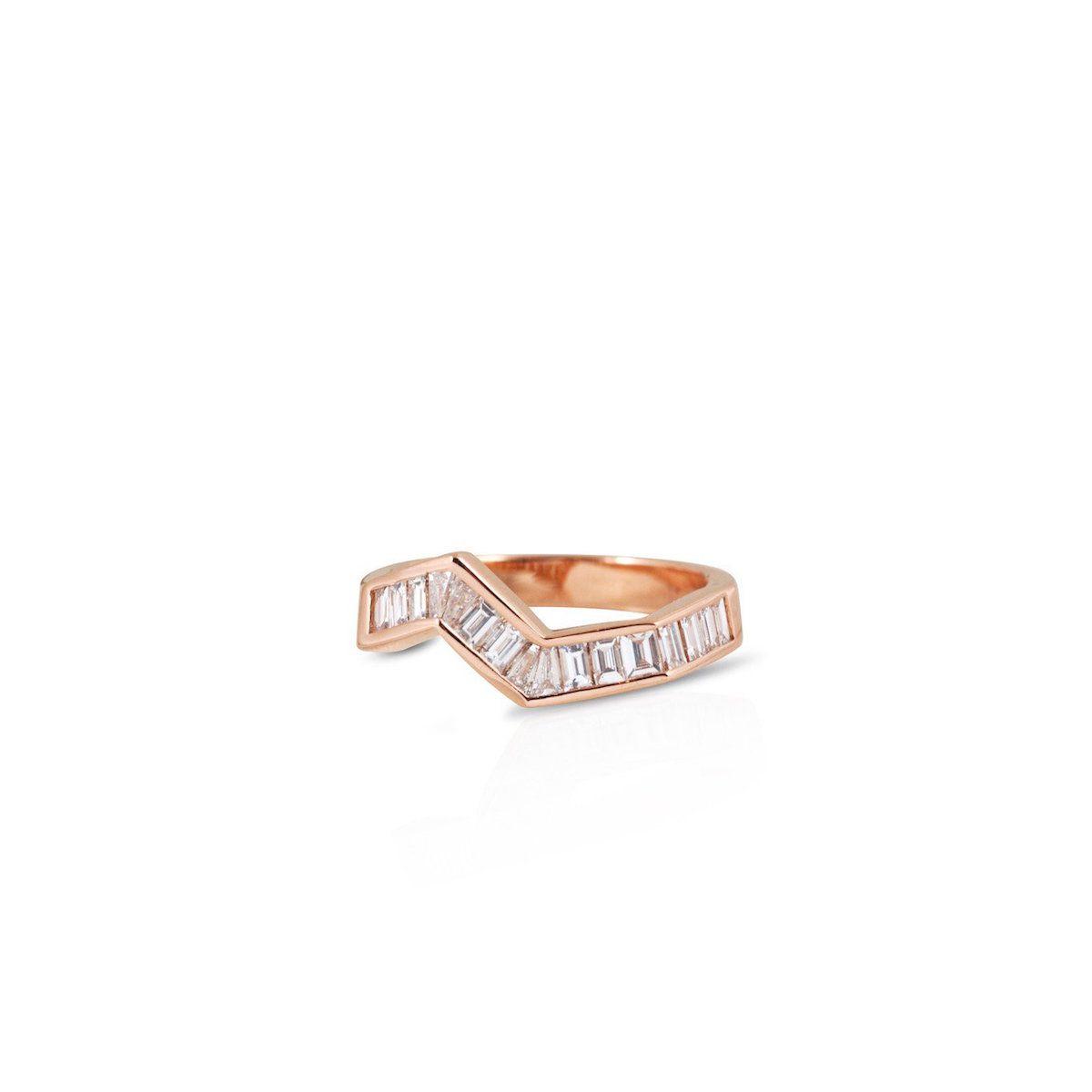 Kavant & Sharart Origami Ziggy Diamond Ring in Rose Gold
