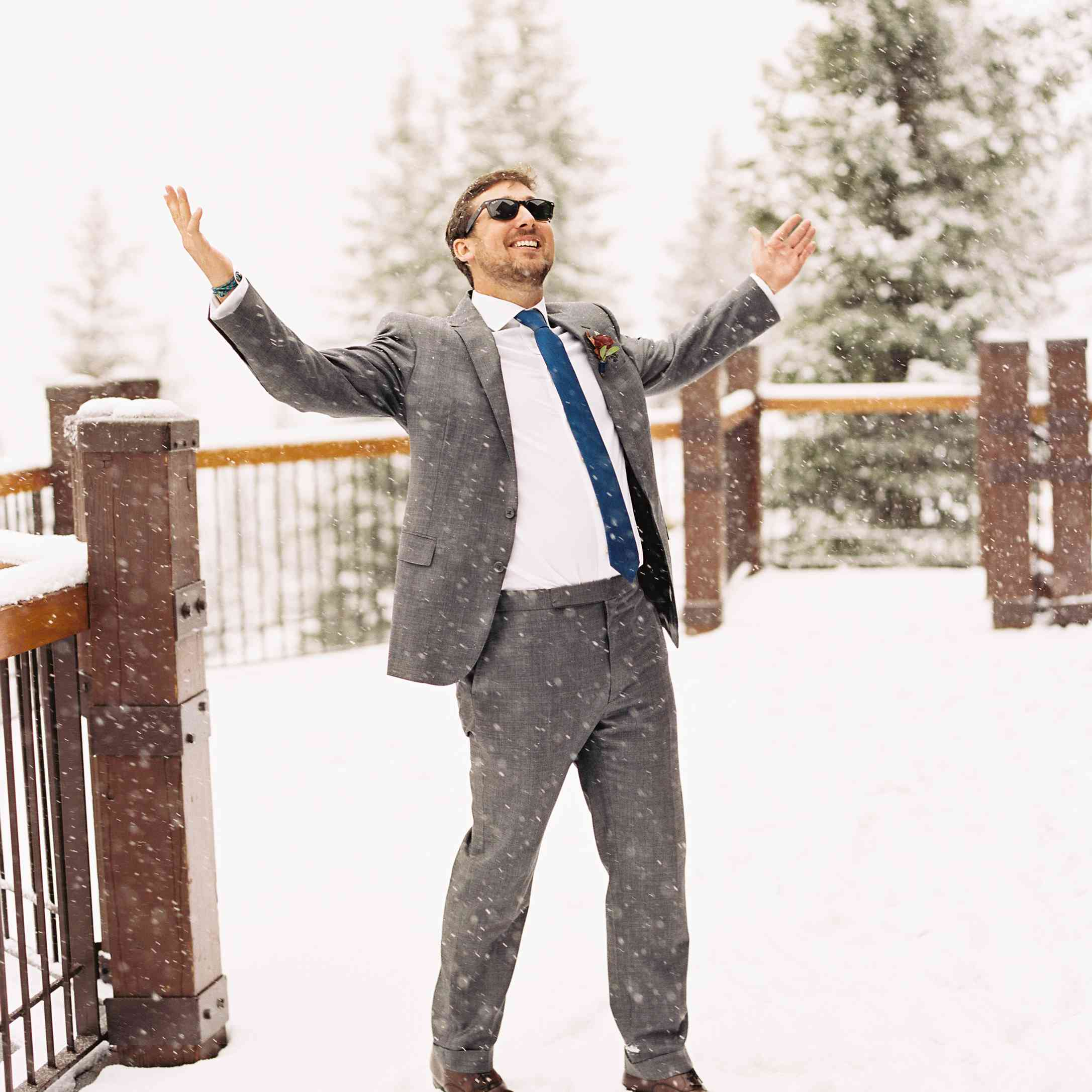Groom in the snow