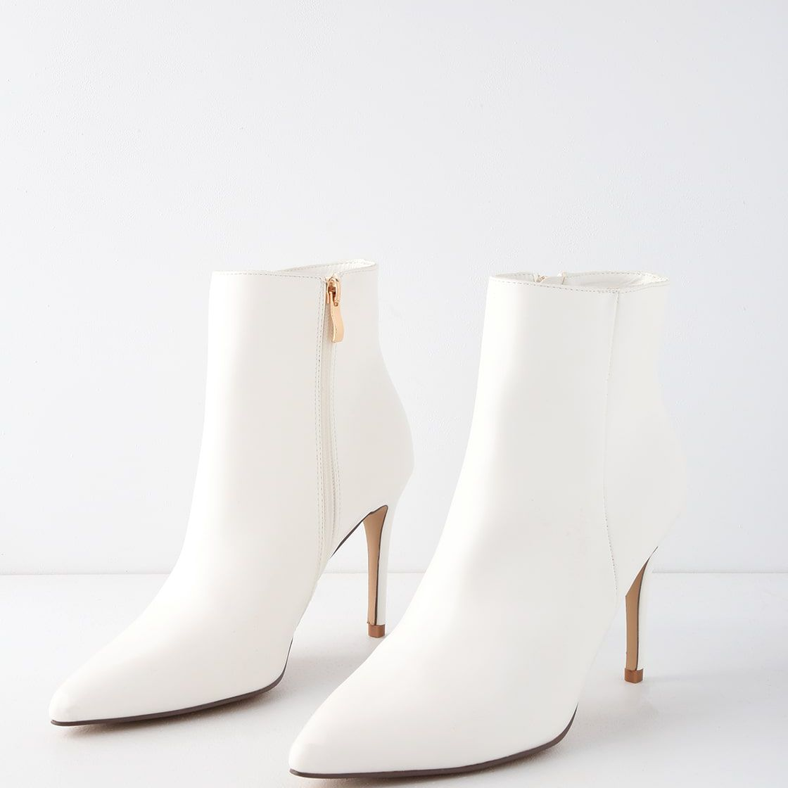 Lulus Selenah White Pointed Toe Ankle Booties