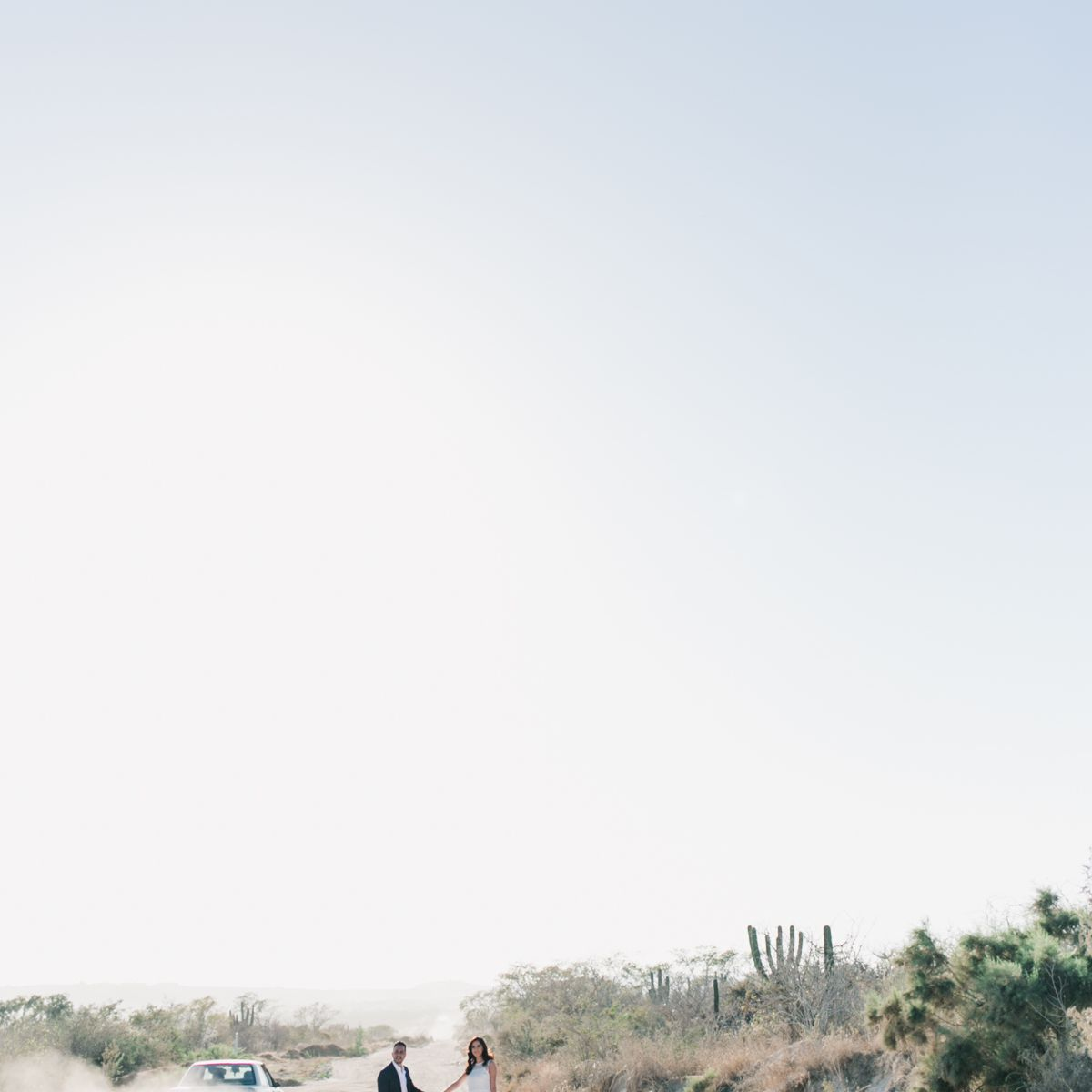 Couple with car in desert