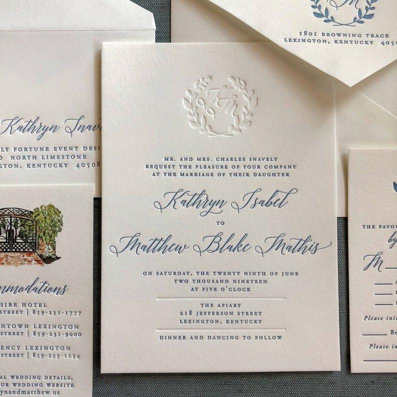 elegant letterpress wedding invitation suite