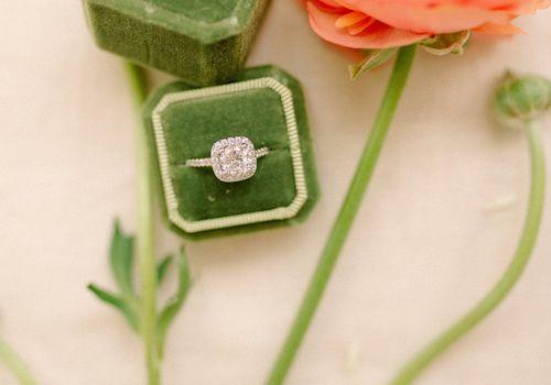 Green vintage velvet ring box for engagement
