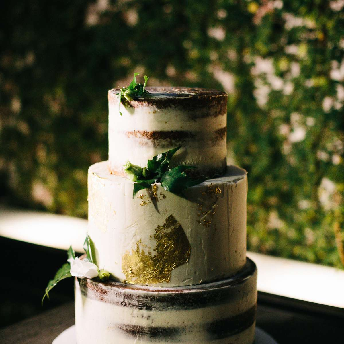 Nearly-Naked Chocolate Cake with Gold Foil