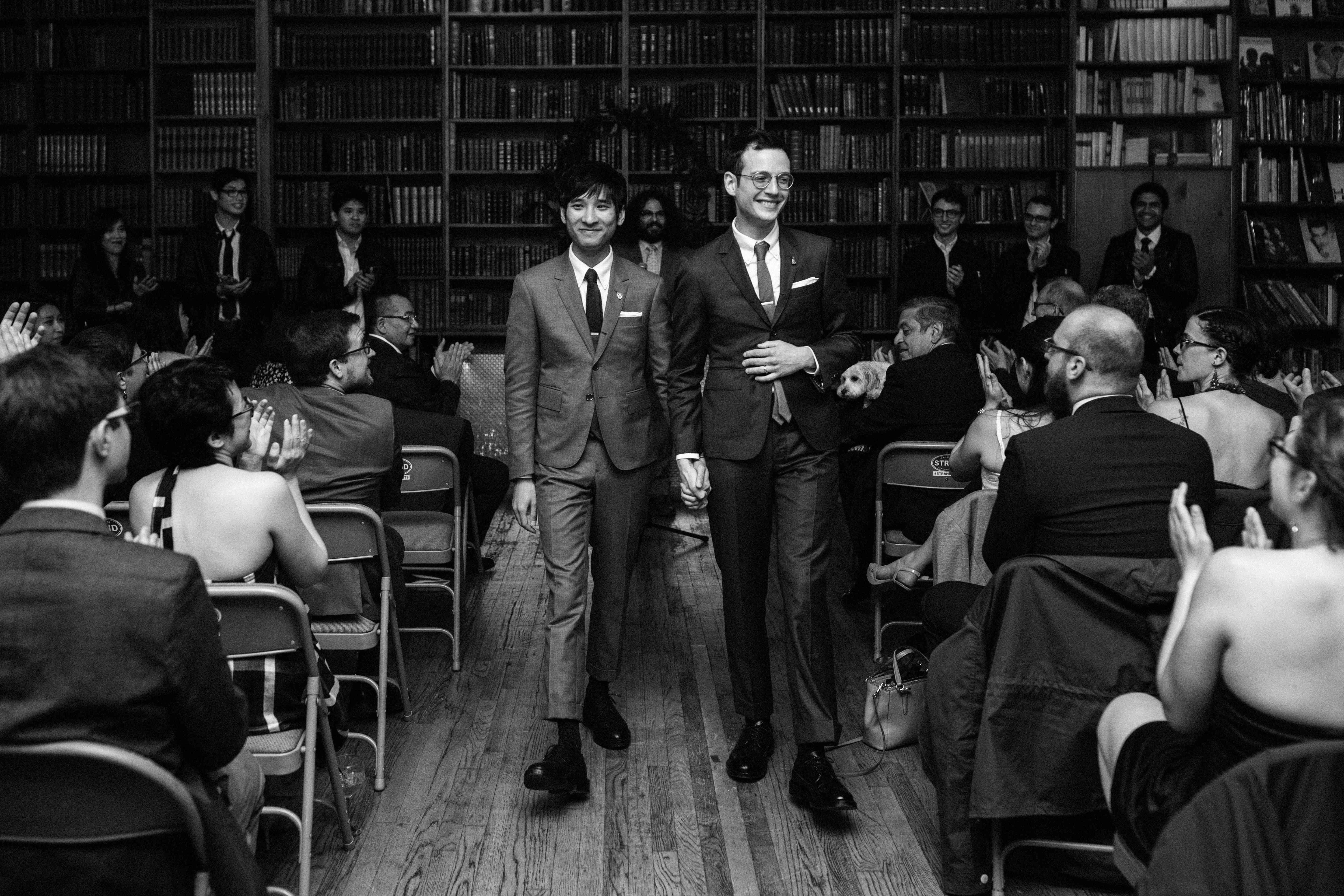 Grooms during recessional