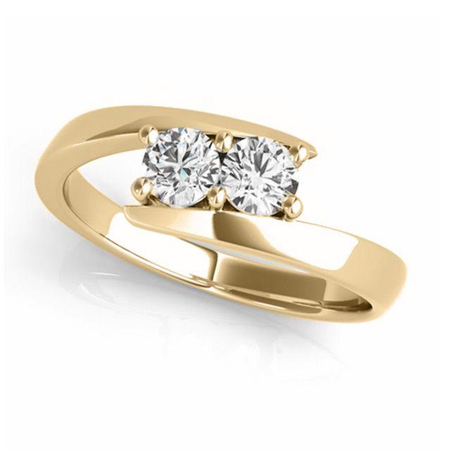 Allurez Diamond Solitaire Tension Two Stone Ring 14k Yellow Gold (0.12CT)