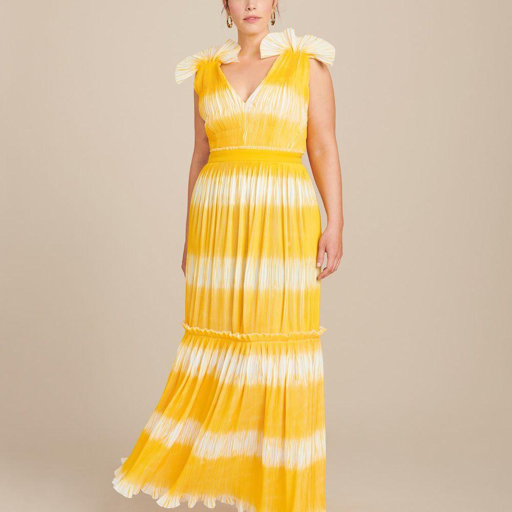 Prabal Gurung Tadia V-Neck Plissé Gown, $2,595, on sale $648