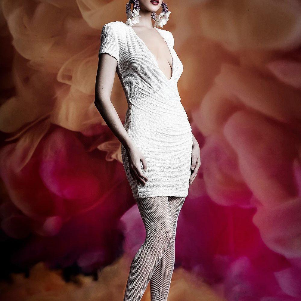 Model in plunging V-neck short sleeve short wedding dress