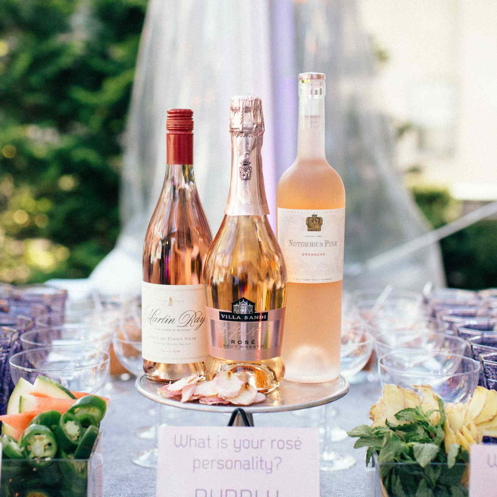 rosé bottles on display on a table