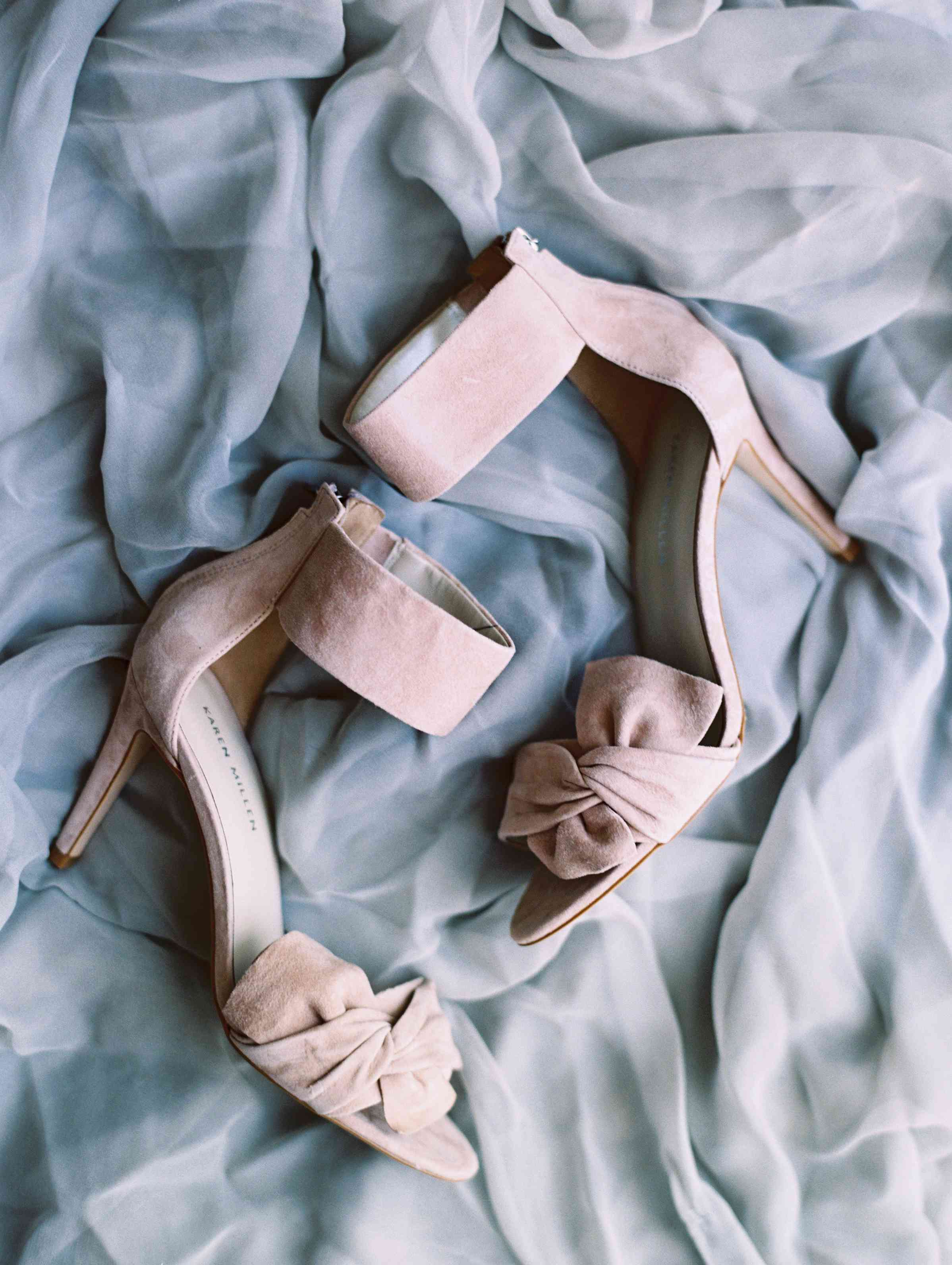Pink heels with think ankle straps.
