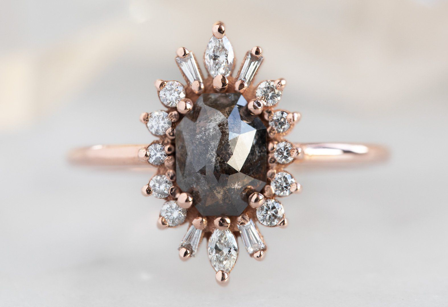 Alexis Russell The Camellia Ring with a Black Emerald-Cut Diamond