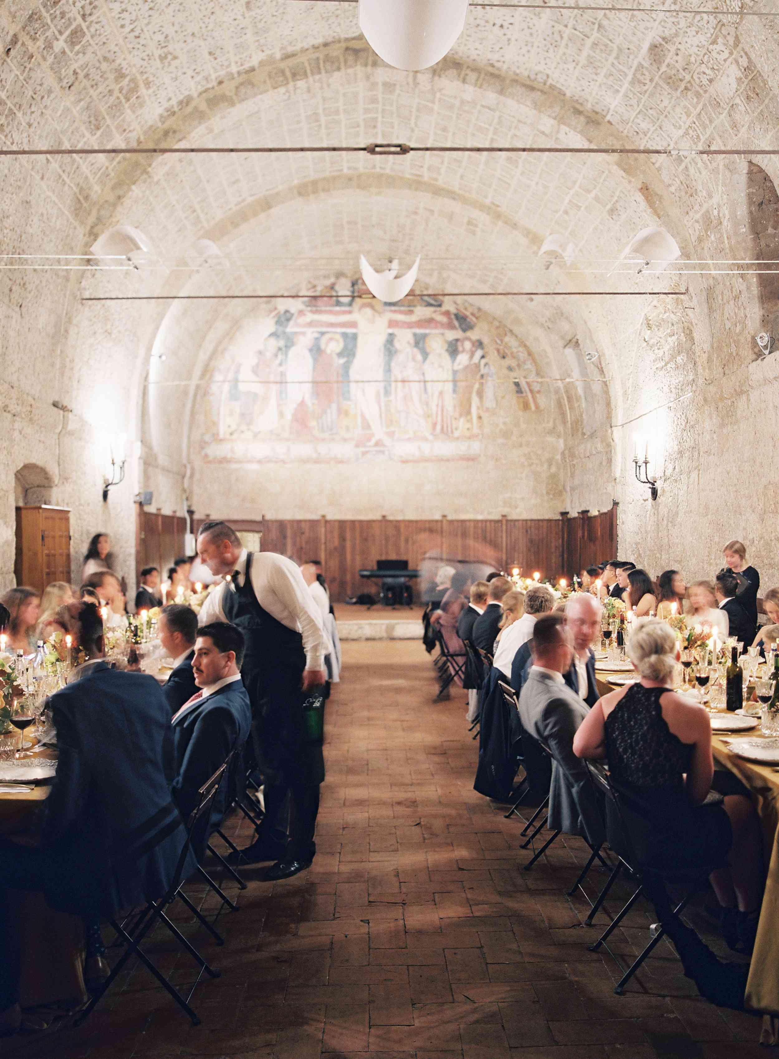 classic la badia italian wedding, guests eating at reception