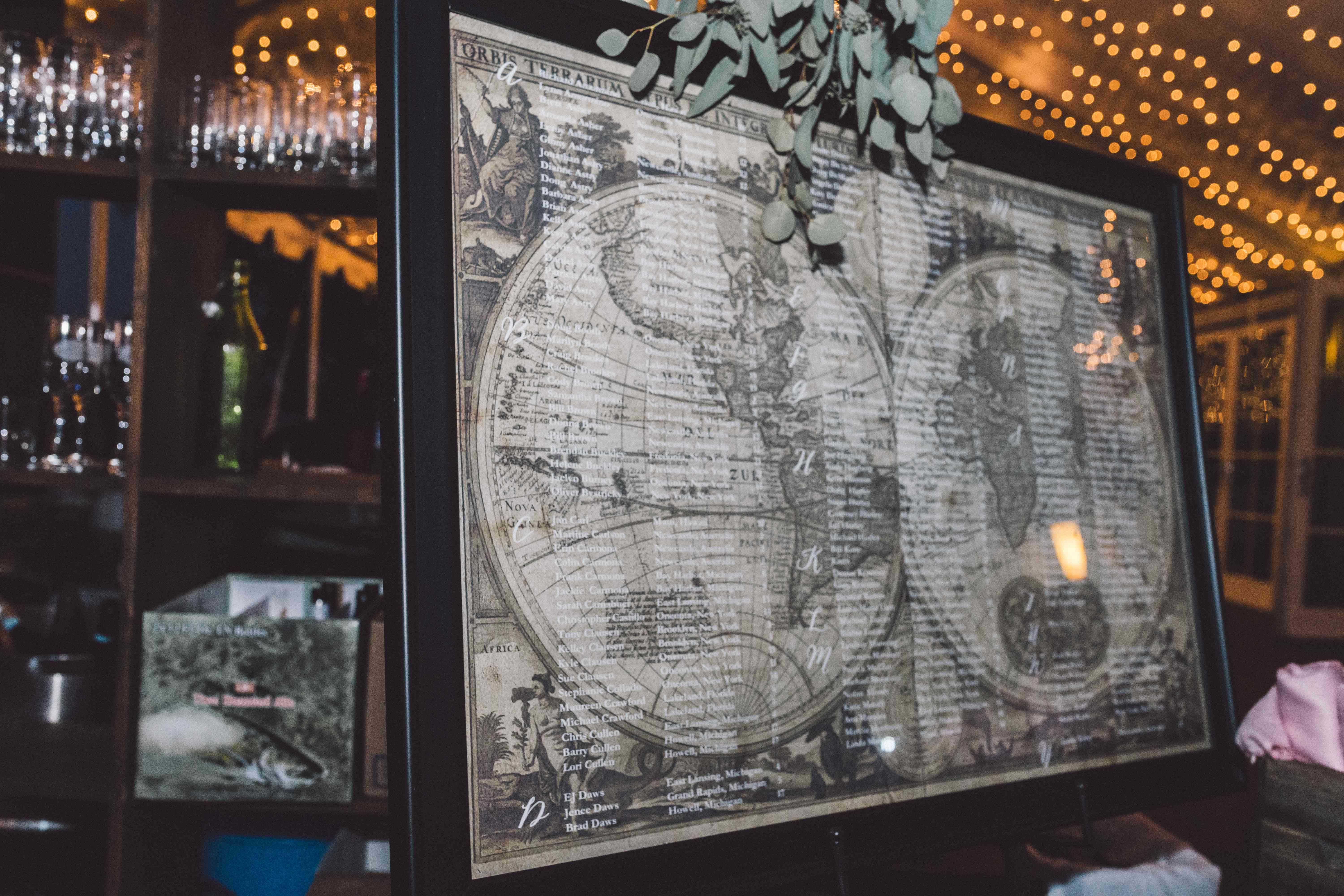 Seating Chart on Vintage Map