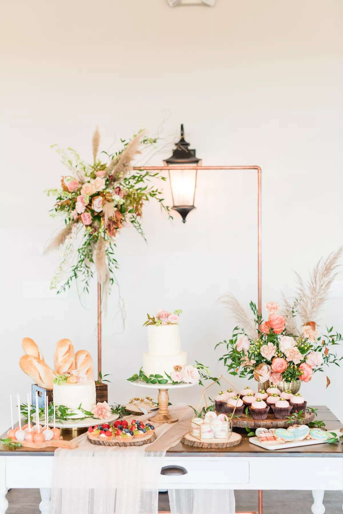 dessert table with gold frame