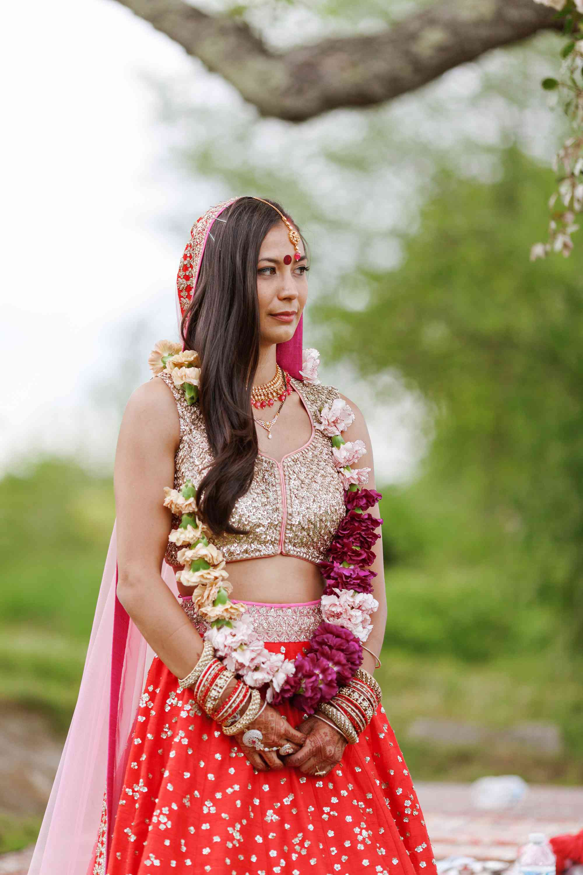 Bride in traditional lengha during ceremony