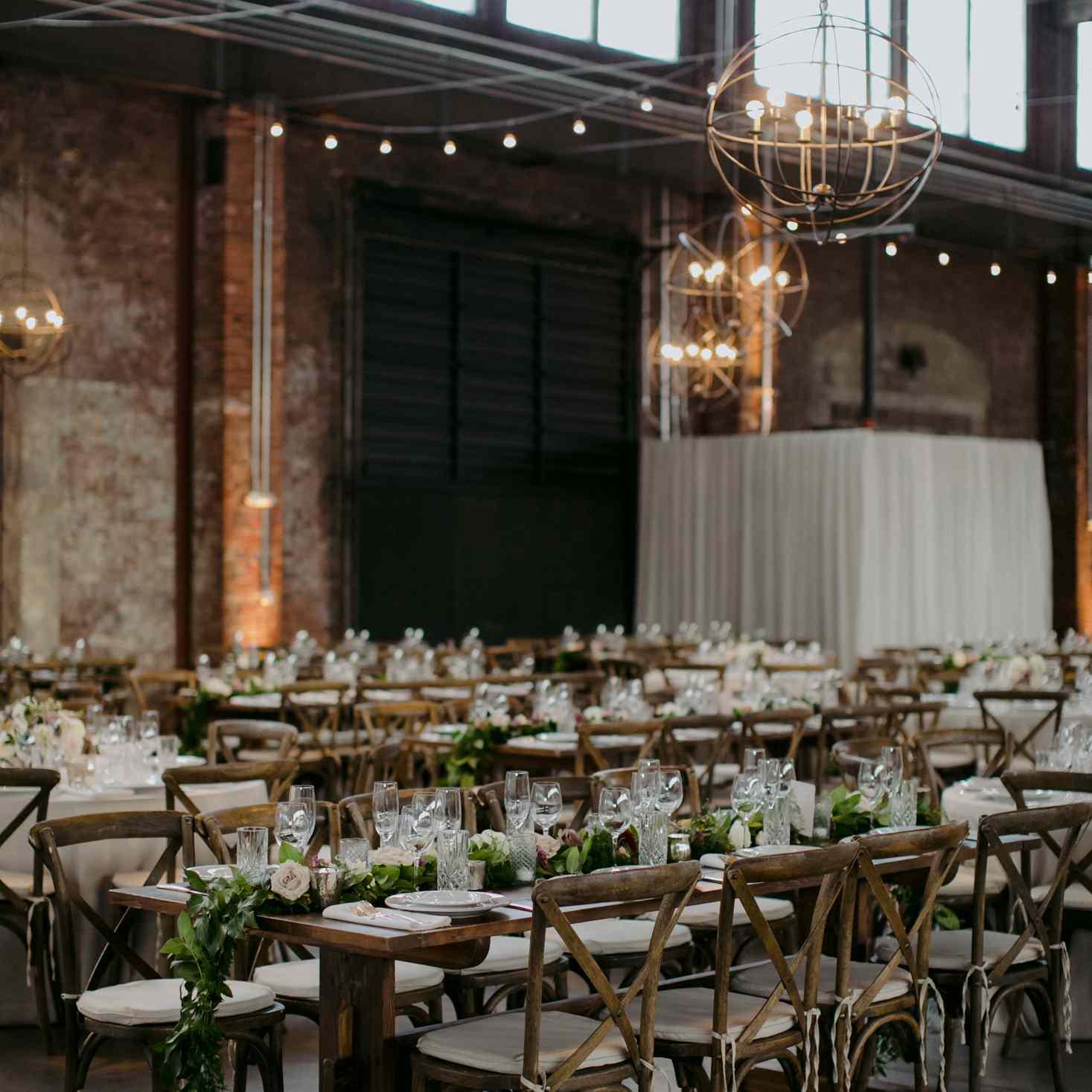 wedding reception farm tables
