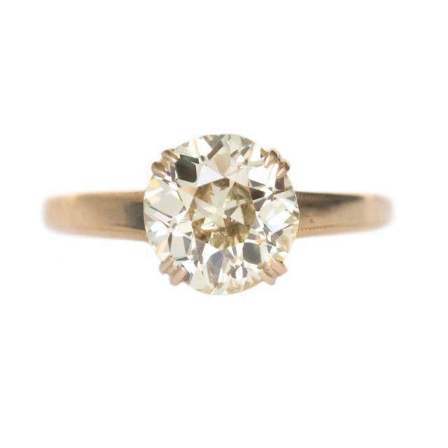 ermaEstateJewels Circa 1890s Victorian 14k Yellow Gold 1.55 Old European Cut Diamond Engagement Ring
