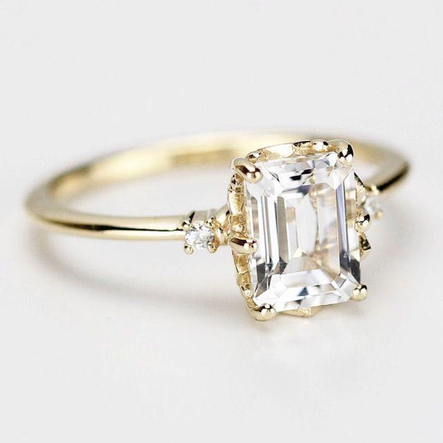 NOOIjewelry Diamond Engagement Ring, Emerald Cut Engagement Ring, Minimalist Engagement Ring, Engagement Ring, Delicate Ring, Unique Engagement Ring
