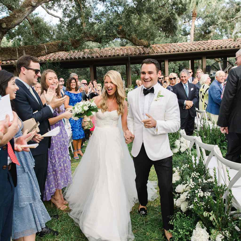 timeless southern wedding, bride and groom recessional