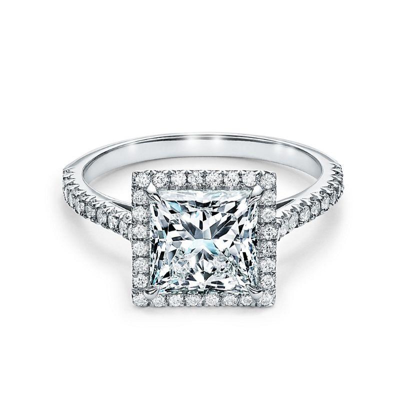 Tiffany Soleste Princess Cut Halo Engagement Ring