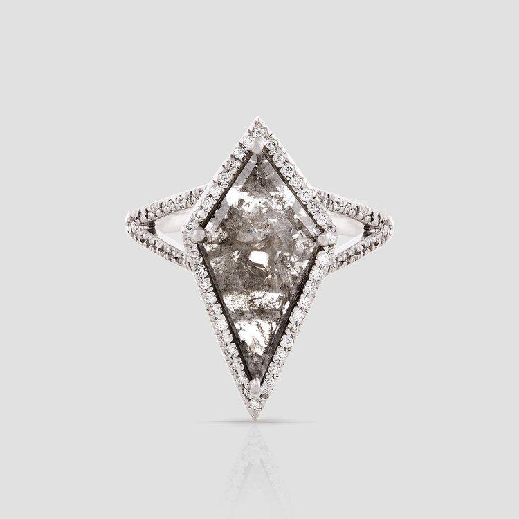 Loriann Stevenson Gray Kite Diamond Slice Ring