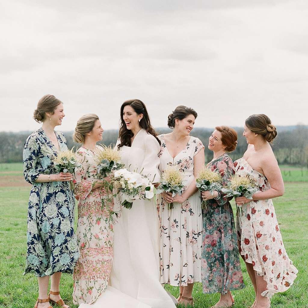 bridesmaids floral dresses