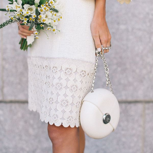 bride carrying purse