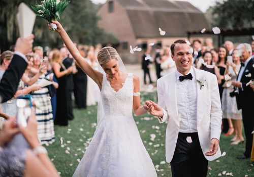 Dane Evans and Meredith Murphy were married at Middleton Place in Charleston, South Carolina.