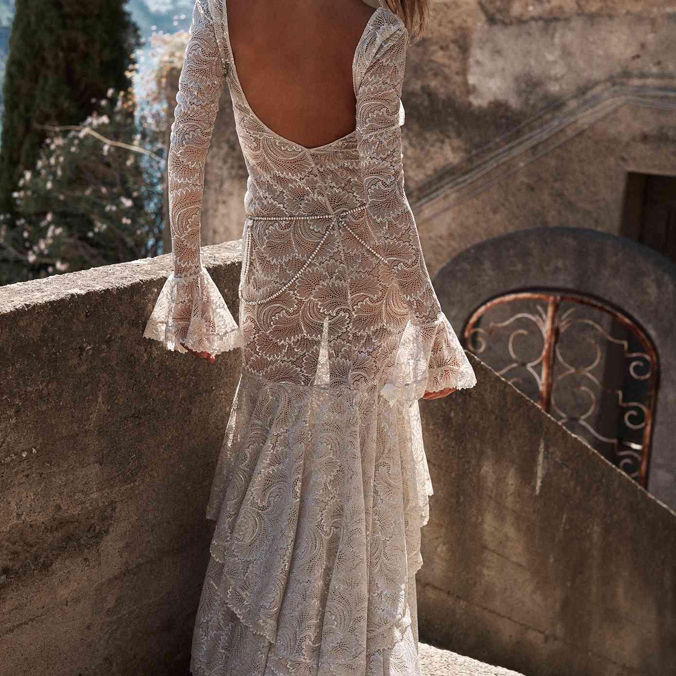Farrow lace long sleeve wedding gown