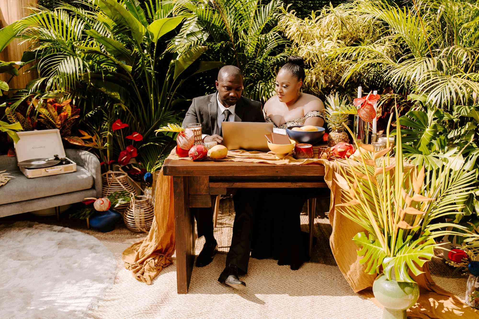 Zenzile & Joel watch the surprise honeymoon video message