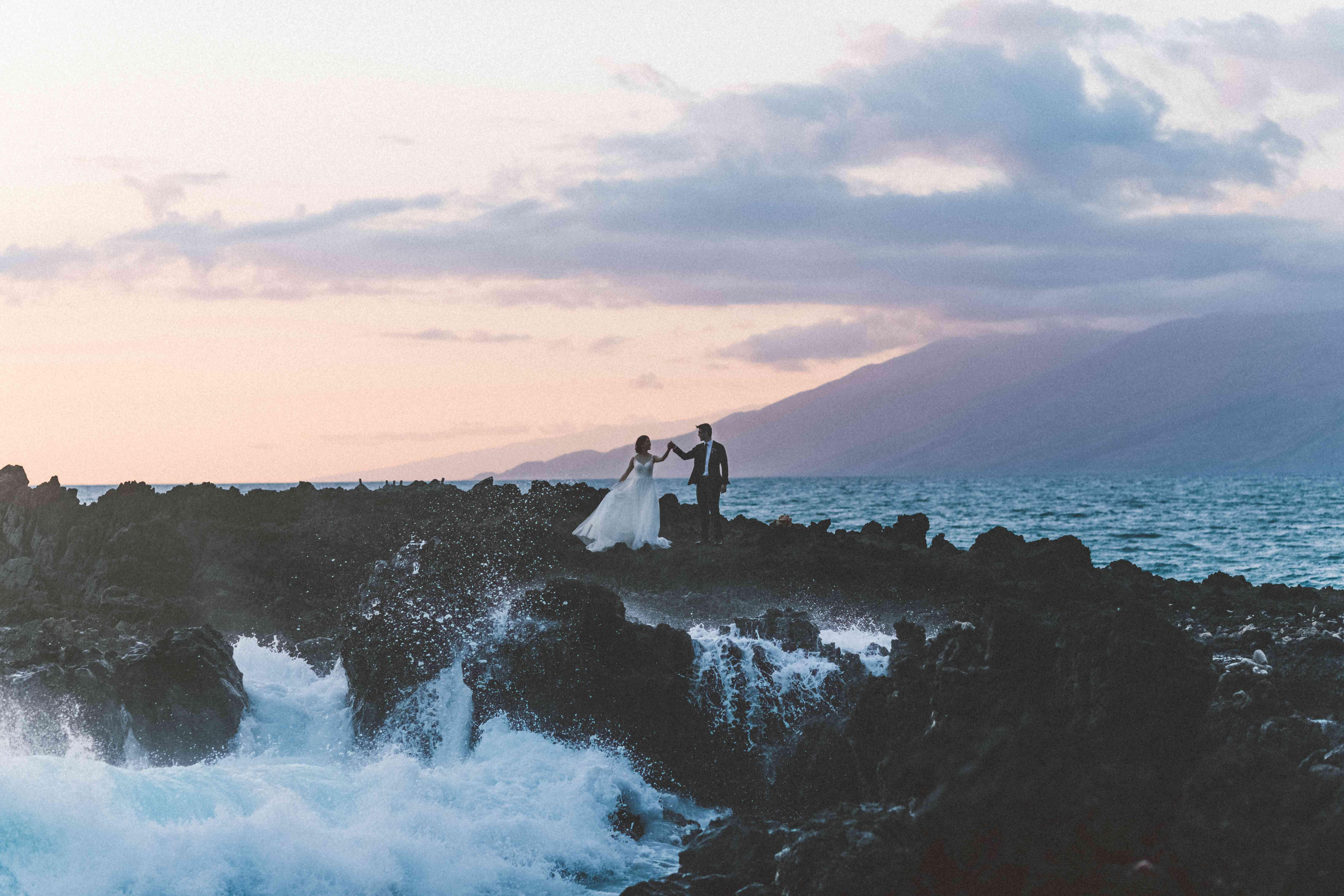 <p>Wedding photo at Kukahiko Estate in South Maui</p>