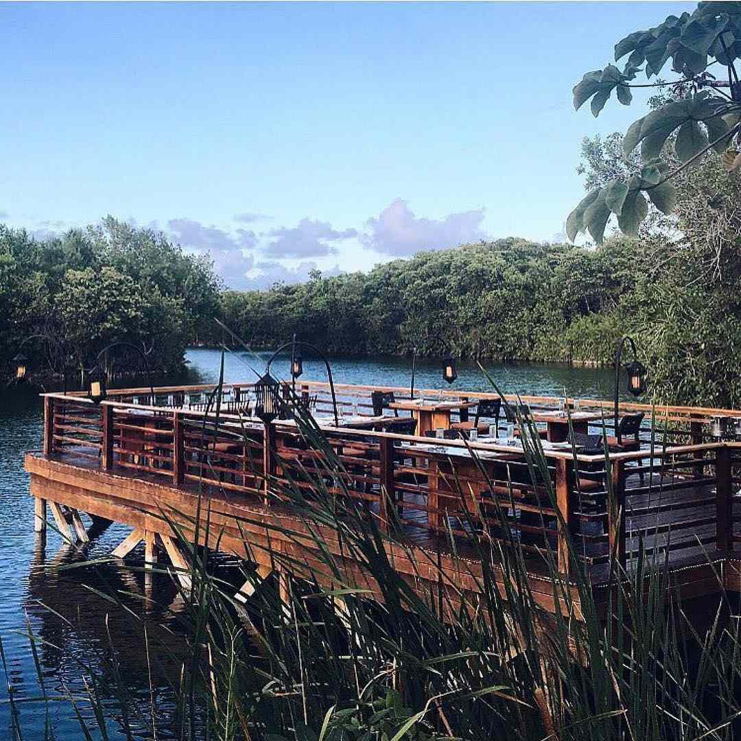 A view of the restaurant at Banyan Tree Mayakoba in Mexico.
