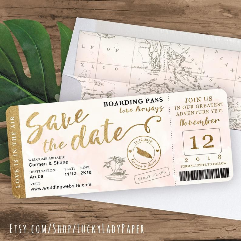 Lucky Lady Paper Boarding Pass Save the Date Boarding Pass Invitation