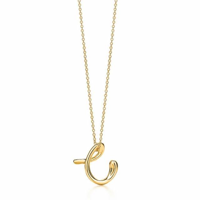 Tiffany Elsa Peretti Alphabet Pendant Necklace